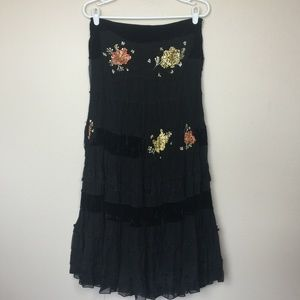 MISS ME Black Tiered & Sequined Boho Gypsy Skirt M
